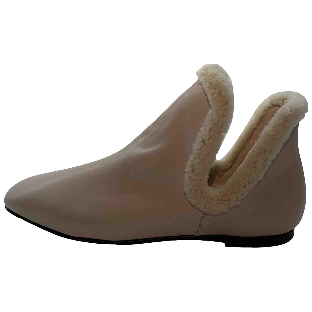 The Row - Boots   pour femme en cuir - ecru