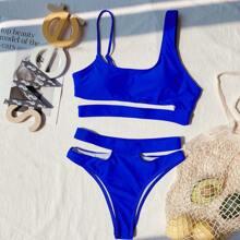 Bañador bikini de cintura alta con abertura