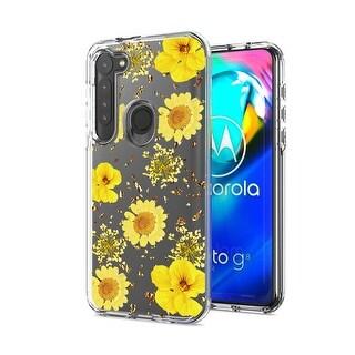 Pressed dried flower Design Phone case for MOTORORA G STYLUS (Yellow)