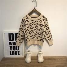 Pullover mit Leopard Muster und rundem Kragen