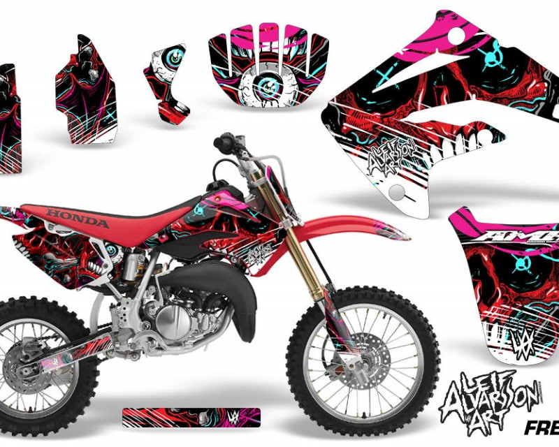 AMR Racing Graphics MX-NP-HON-CR85-03-07-FZ R Kit MX Decal Wrap + # Plates For Honda CR85 CR 85 2003-2007 FRENZY RED