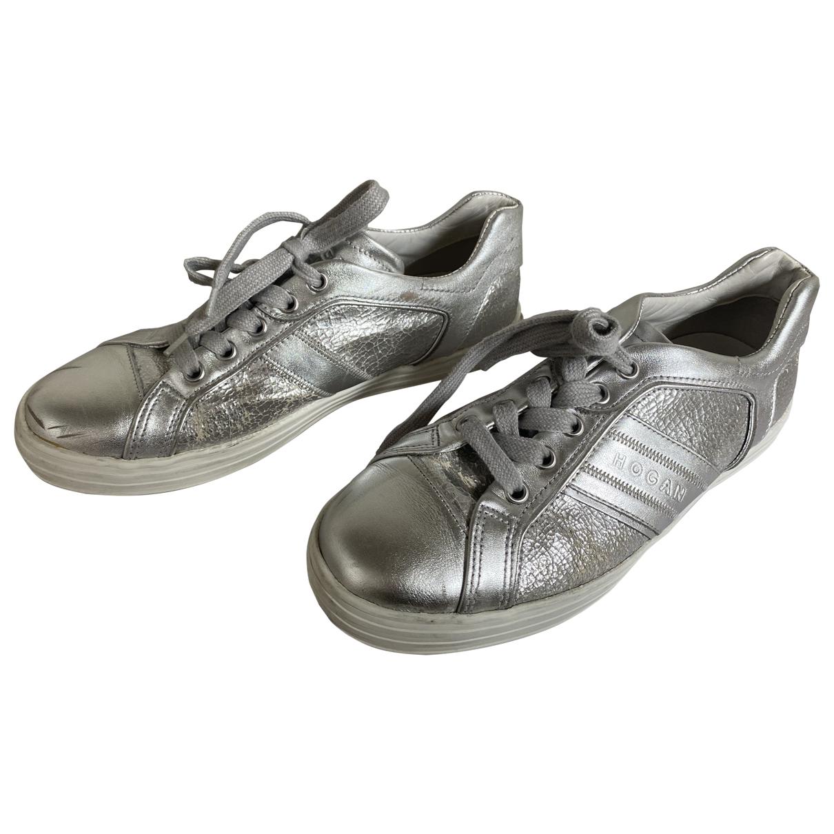 Hogan \N Sneakers in  Silber Leder