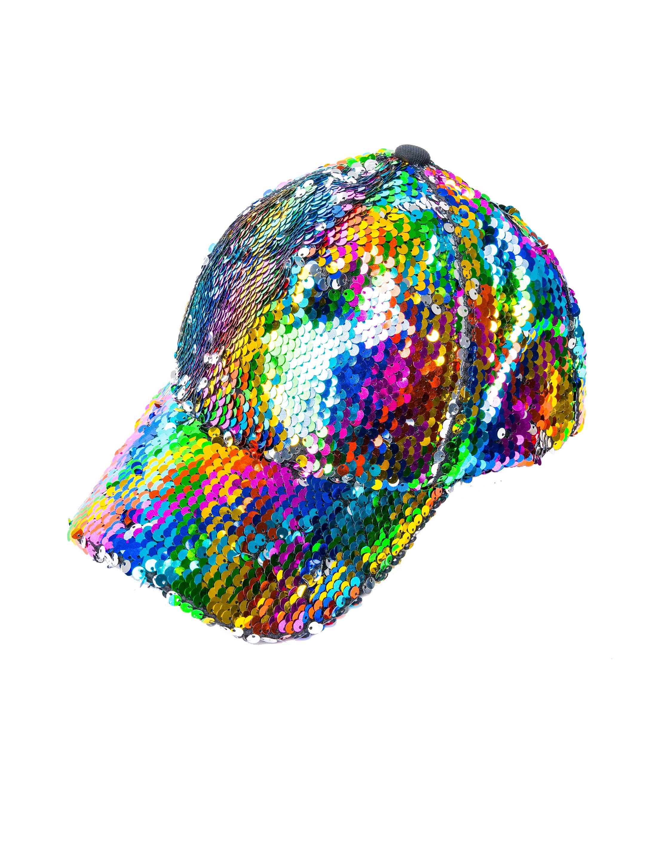 Kostuemzubehor Baseball Cap Wendepailletten bunt Farbe: rainbow