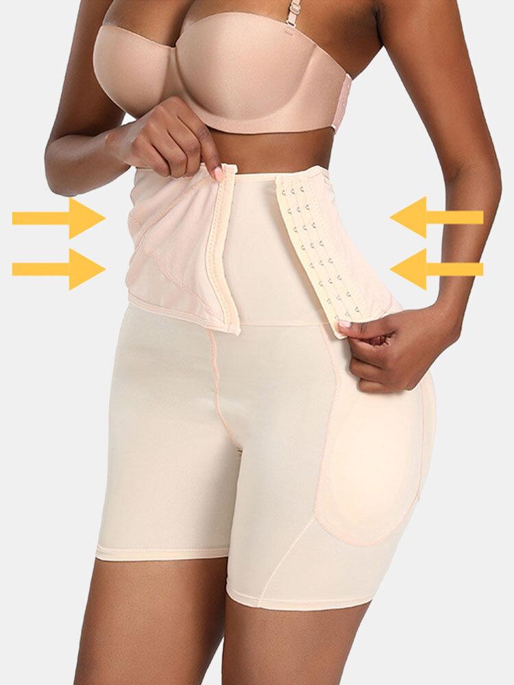 Women High Waist Tummy Shaping Hip Lifting Side-Closure Breathable Shapewear