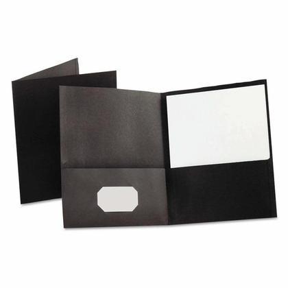 Oxford Twin Pocket Folders, Letter Size - 25/Pack, Black 240226