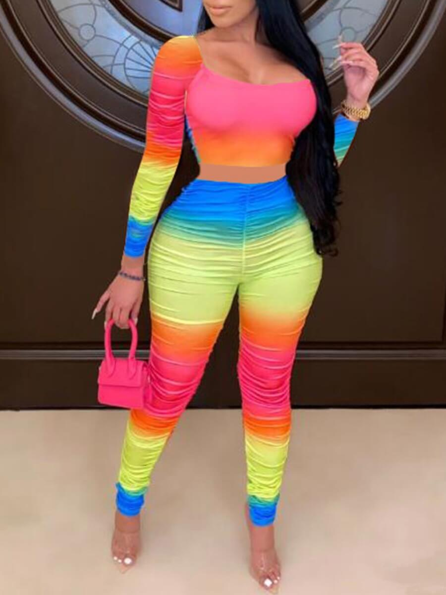 LW Lovely Chic Square Collar Gradient Multicolor Two Piece Pants Set