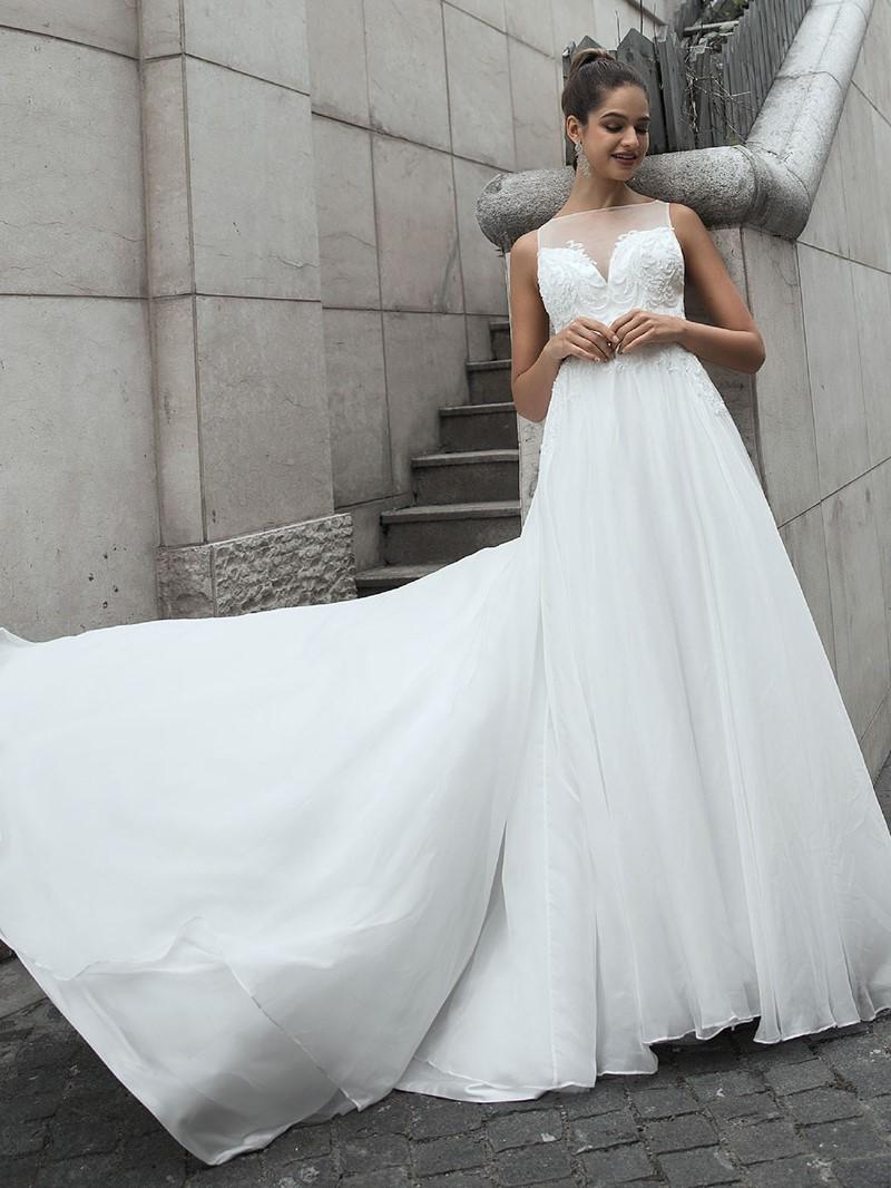 Ericdress Bateau Sweep/Brush Button Hall Wedding Dress 2020