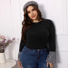 Plus Contrast Gingham Cuff  Sweater