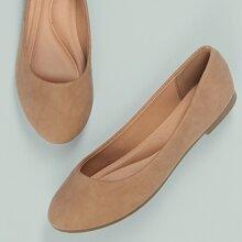 Metallic Round Toe Slip On Ballerina Flats