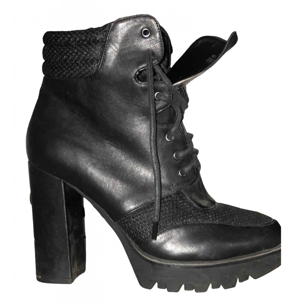 Asos - Boots   pour femme en cuir - noir
