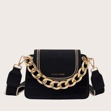 Bolso cartera con cadena con diseño de cocodrilo