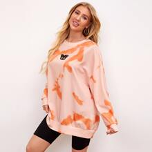 Embroidery Butterfly Patched Tie Dye Oversized Sweatshirt