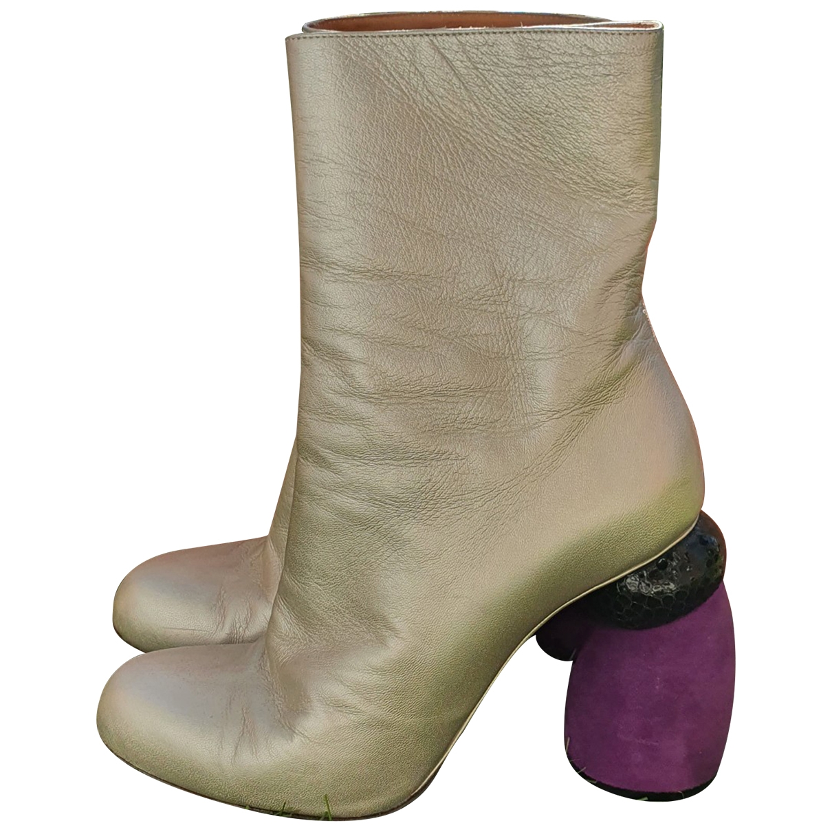 Dries Van Noten \N Silver Leather Ankle boots for Women 37 EU