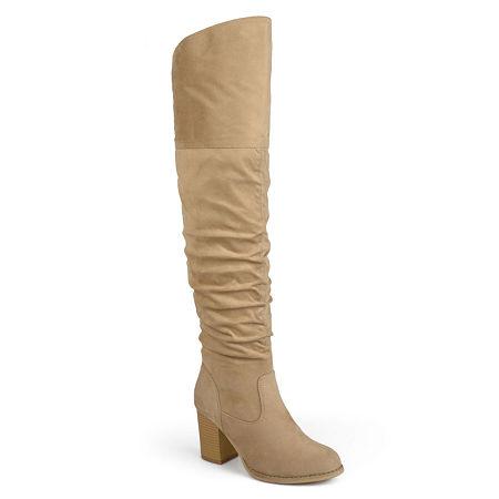 Journee Collection Womens Kaison-Xwc Dress Boots Stacked Heel, 10 Medium, Beige