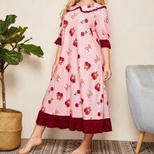 Grosse Grossen - Nachtkleid mit Peter Pan Kragen, Raffungsaum und Kirsche Muster
