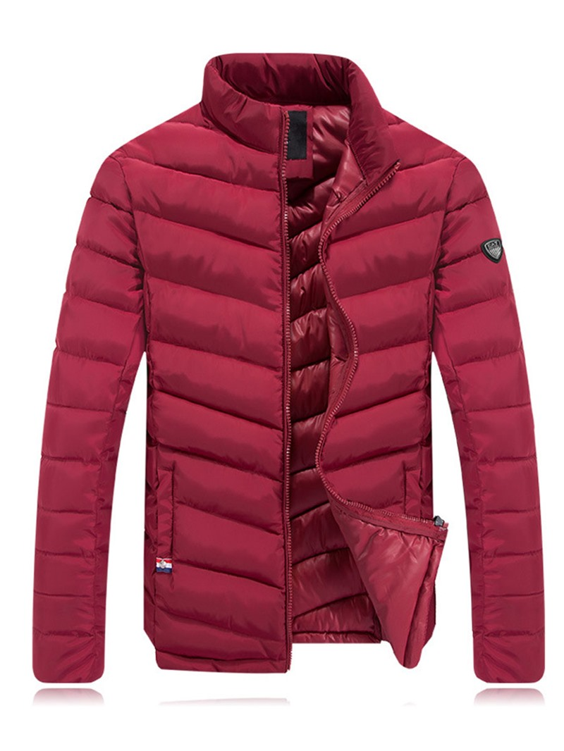 Ericdress Plain Stand Collar Zip Warm Mens Jacket