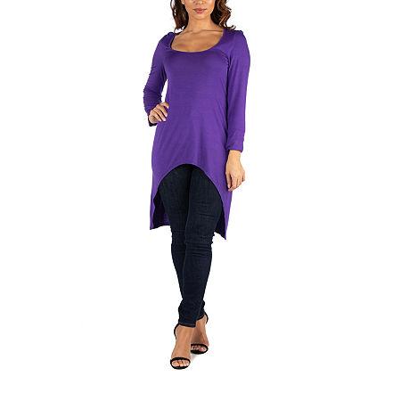 24/7 Comfort Apparel Womens Long Sleeve Hi Low Tunic Top, Small , Purple