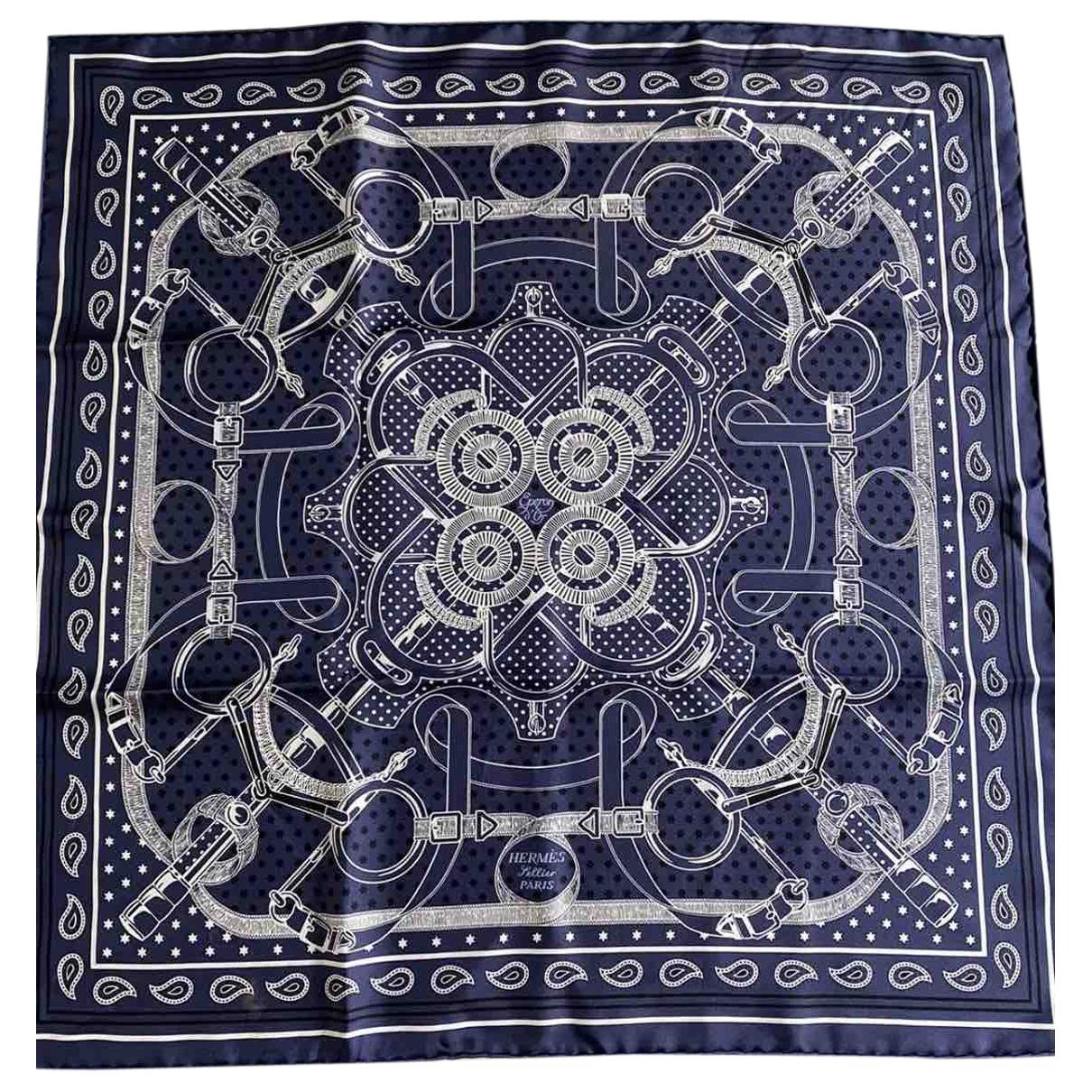 Hermes - Carre   pour femme en soie - bleu
