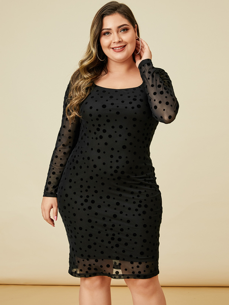 YOINS Plus Size Mesh Patchwork Dress