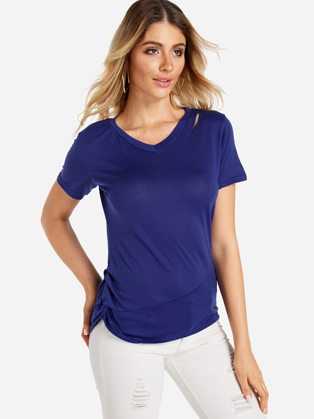 Yoins Blue Pleated Design V-neck Short Sleeves T-shirt with Burn-out Design