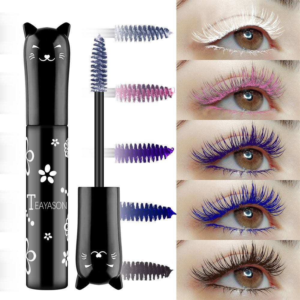6 Colors Cat Shape Mascara Long-Lasting Thick Curling Not Faded Mascara Eye Makeup