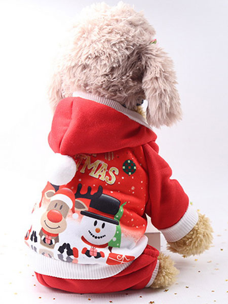 Milanoo Christmas Costume Red Pet Cat Jumpsuit Hooded Clothes