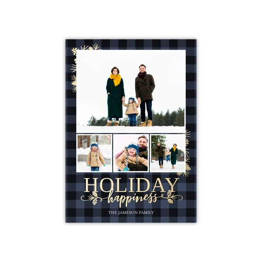 20 Pack of Gartner Studios® Personalized Rustic Plaid Holiday Photo Card in Navy Blue   5