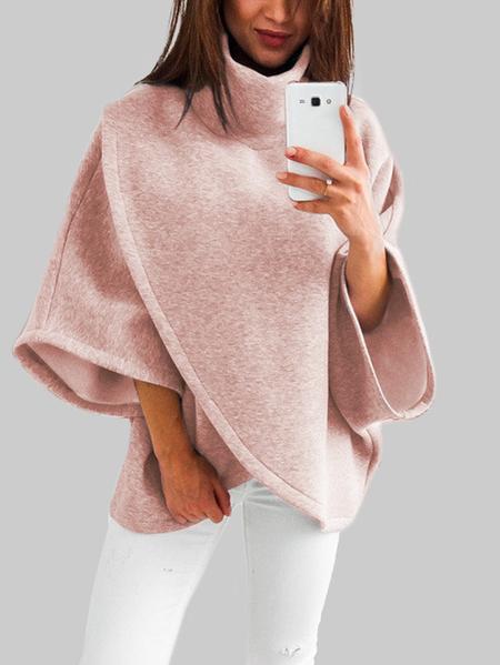 Yoins Pink Chimney Collar Flared Sleeves Irregular Hem Sweater