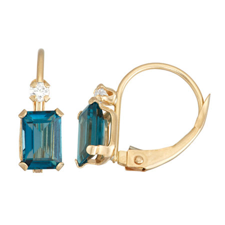 Genuine Blue Topaz 10K Gold Rectangular Drop Earrings, One Size , No Color Family