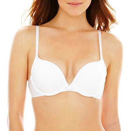 Ambrielle Convertible Underwire Plunge Push Up Bra, C , White