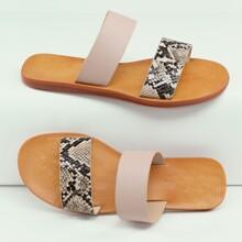 Snakeskin Double Band Open Toe Slide Sandals
