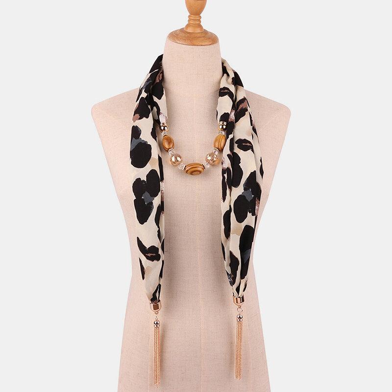 Bohemian Chiffon Multi-layer Necklace Big Leopard Print Snakeskin Print Beaded Tassel Scarf Necklace