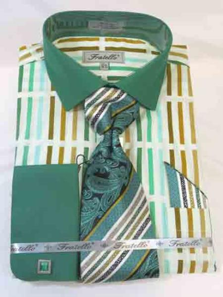 Mint Forest Multi Mens Cotton French Cuff Dress Shirt