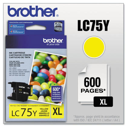 Brother LC75Y Original Yellow Ink Cartridge High Yield