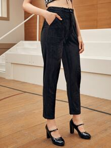 Button Waist Solid Cord Pants