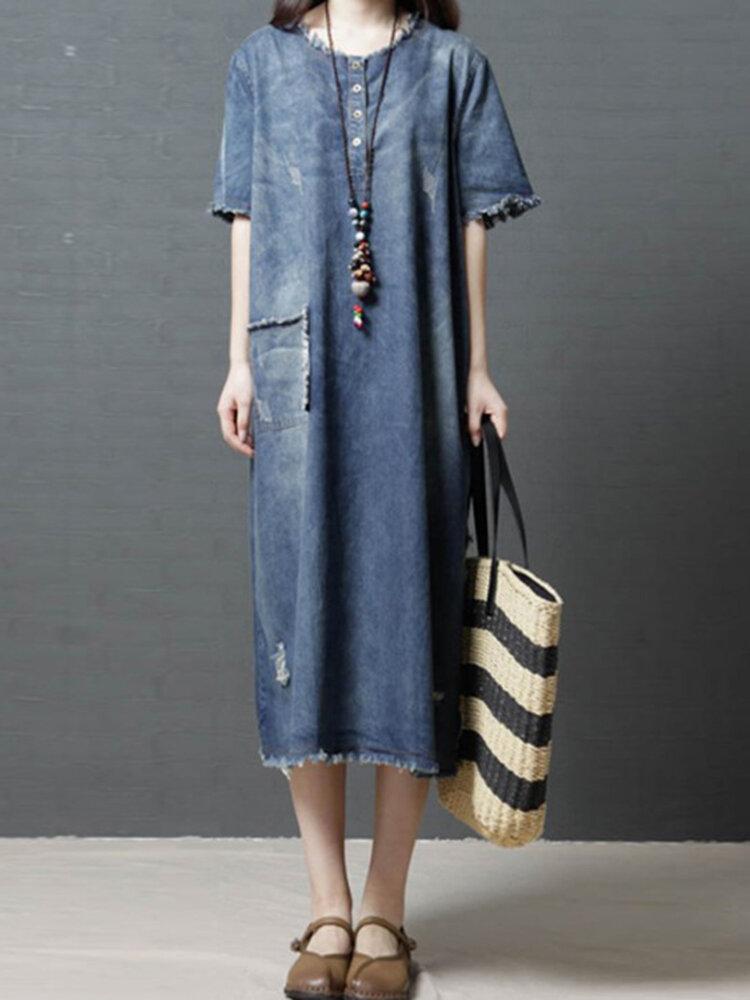 Denim Solid Color Side Splited Short Sleeve Vintage Dresses