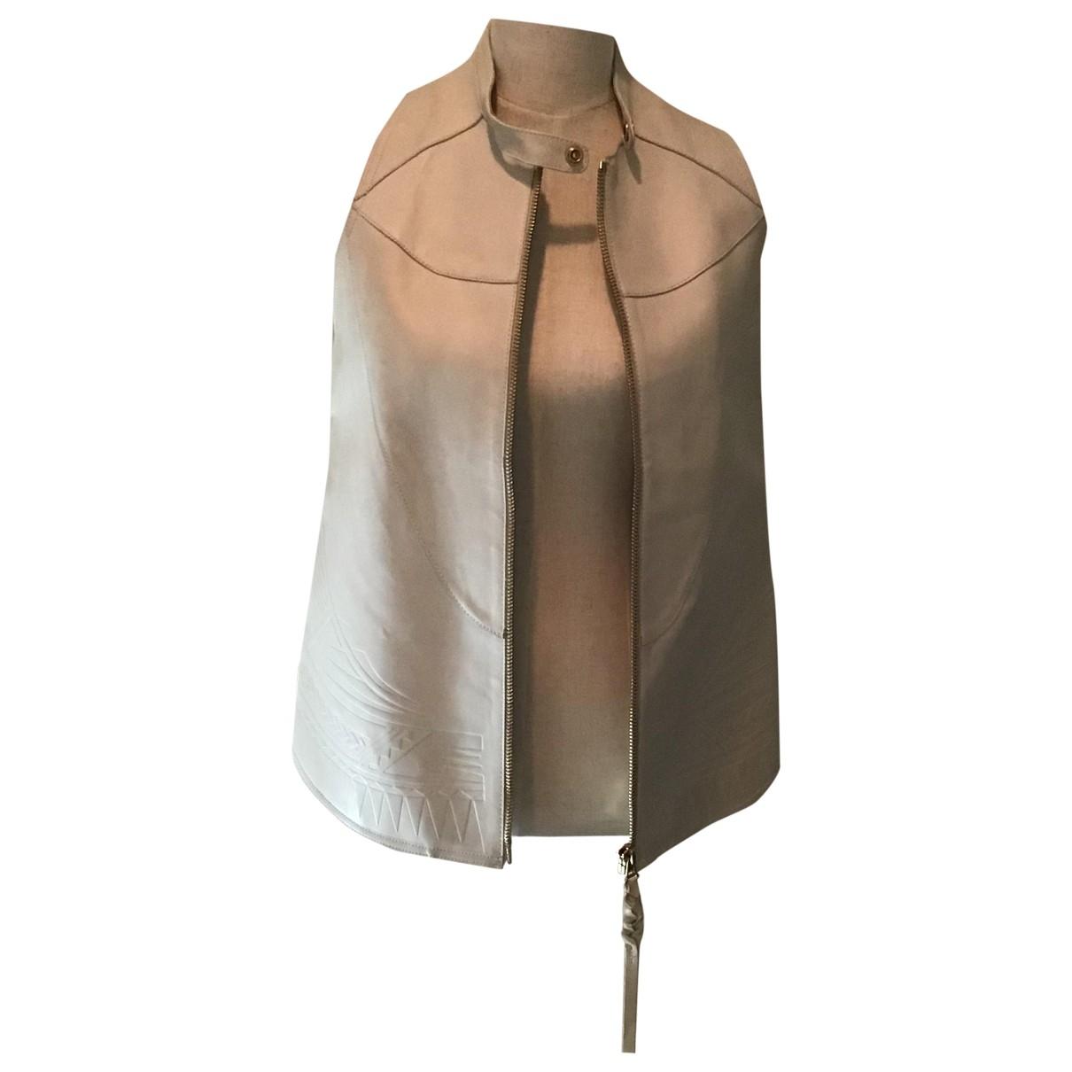 Acne Studios - Blouson   pour femme en cuir - ecru