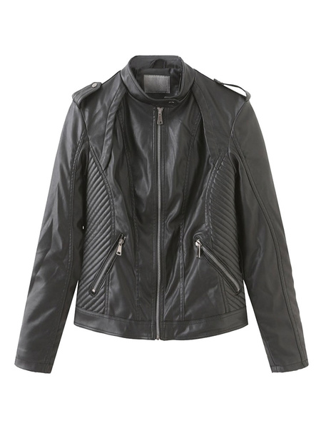 Milanoo Women Short Jacket Brown Stand Collar Long Sleeve PU Leather Motorcycle Jacket