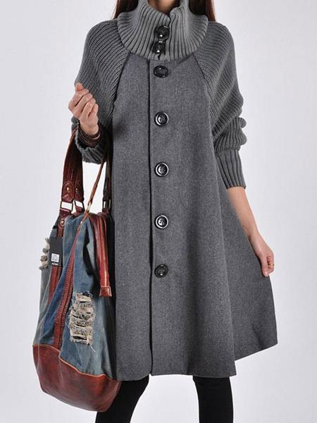 Milanoo Women Black Coat Oversized Button Up Stand Collar Woolen Swing Coat