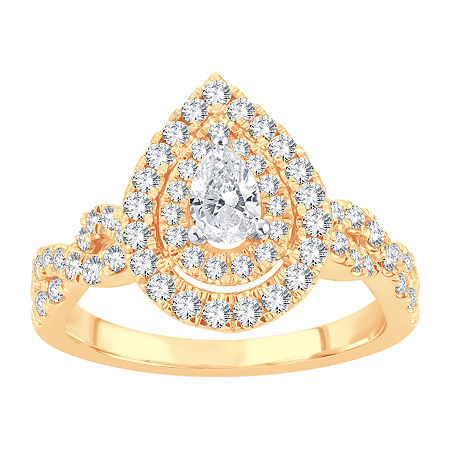Womens 1 CT. T.W. Lab Grown White Diamond 10K Gold Engagement Ring, 6 , No Color Family