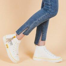 Zapatillas deportivas de lona con estampado de letra con cordon delantero
