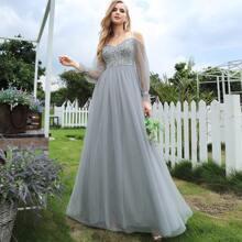 Cold Shoulder Contrast Sequin Mesh Prom Dress