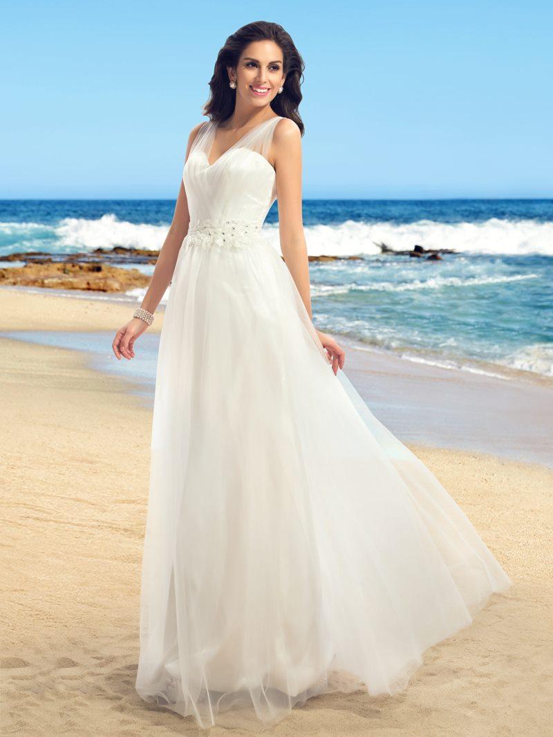 Ericdress Straps Appliques Beading Beach Wedding Dress