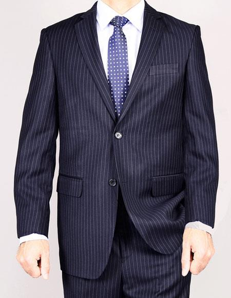 Mens 2Buttons pinstripe Giorgio Fiorelli Brsuits Flat Front Pant