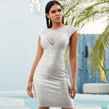Adyce vestido vendaje de color metalico con malla de espalda con cremallera