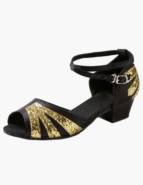 Milanoo Professional Ankle Strap Satin Latin Dance Shoes