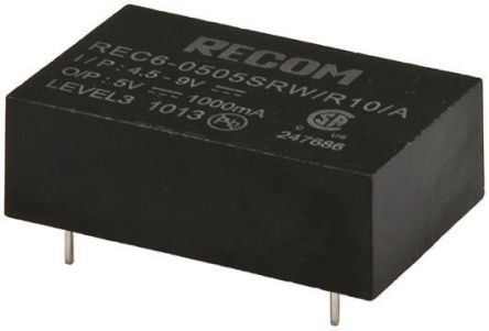 Recom REC6 6W Isolated DC-DC Converter Through Hole, Voltage in 4.5 → 9 V dc, Voltage out 12V dc Medical Approved