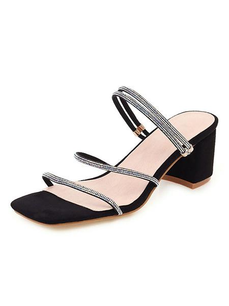 Milanoo Zapatos de tacon cuadrado con punta abierta y tacon cuadrado para mujer