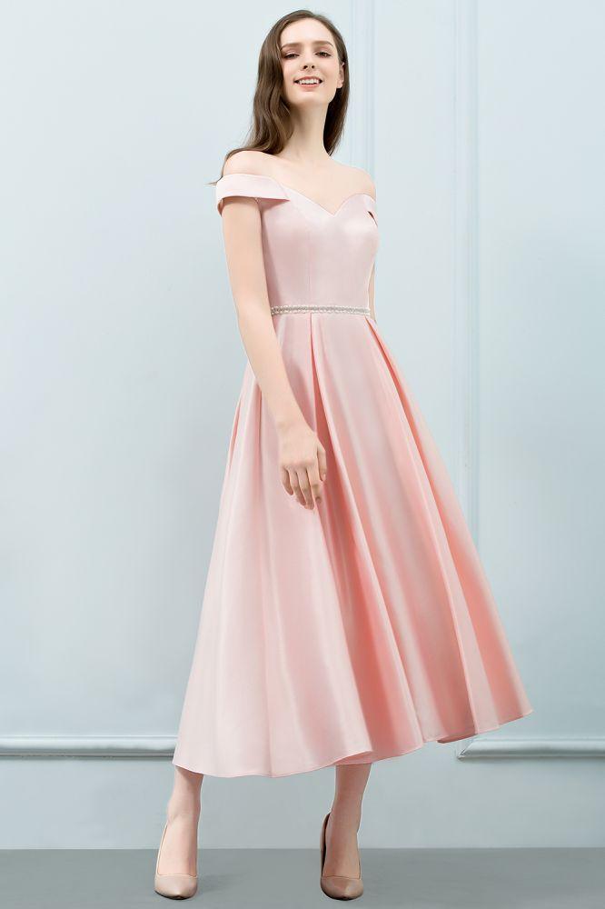 SHEILA   A-Linie Off-Schulter Tee Laenge Pink Prom Kleider mit Schaerpe