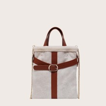 Buckle Decor Chain Satchel Bag